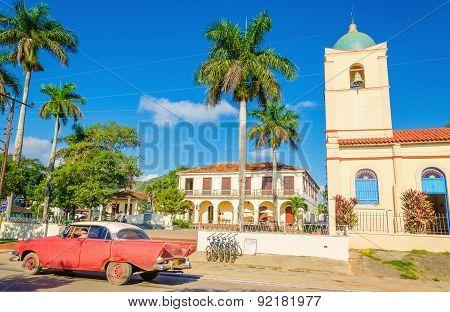 Purple classic American car in Vinales, Cuba