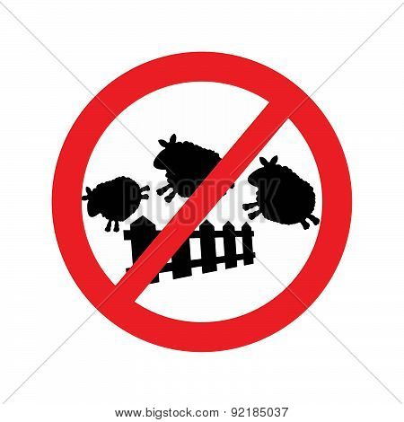 Vector Of Sheep Jumping Over A Fence With Forbidden Traffic Sign
