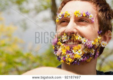 Flower Hipster Ecofriendly Man Smiling