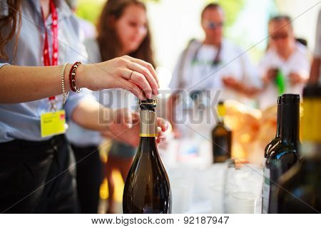 Waiter Uncorked Bottle Of Wine