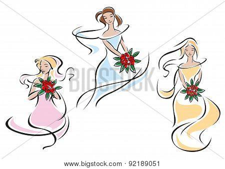 Pretty doodle sketches of brides