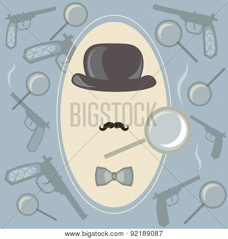 Detective investigator vector background, vector, vector illustration poster