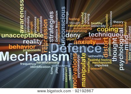 Background concept wordcloud illustration of defence mechanism glowing light
