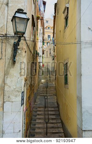 Backstreet View In Lisbon Portugal