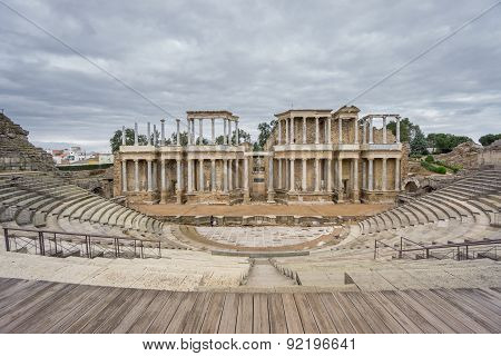 The Roman Theatre proscenium in Merida in Spain. Front View