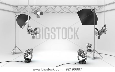 Empty Photo Studio With Interior Equipment