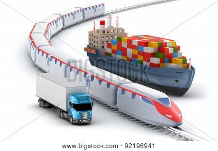 Freight Transport By Truck, Rail And Ship Isolated On White