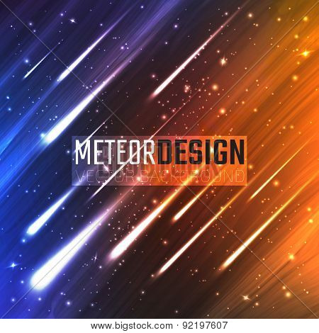 Colorful background with Shining Neon Lights Like flying Meteors. Vector Illustration for artwork, p
