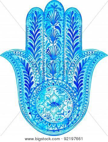 Vector Hamsa Hand - Amulet Illustration.