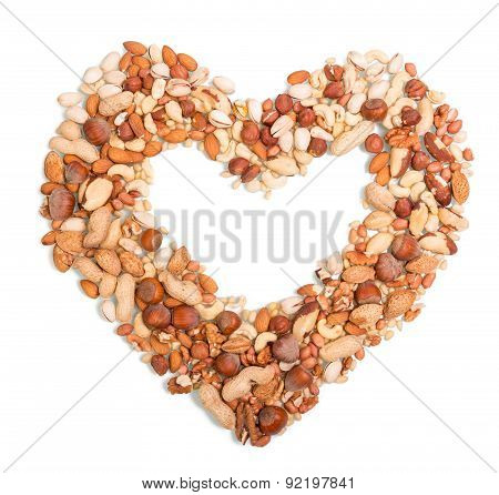 Nuts in the shape of heart