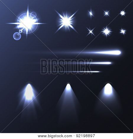 Set of light shiny flares and soffits. Vector illustration for your artwork, banners, flyers.