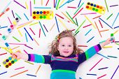 Child with draw and paint supplies. Kids happy to go back to school. Preschool kid learning and studying. Creative children at kindergarten. Office and art supply objects collection. poster