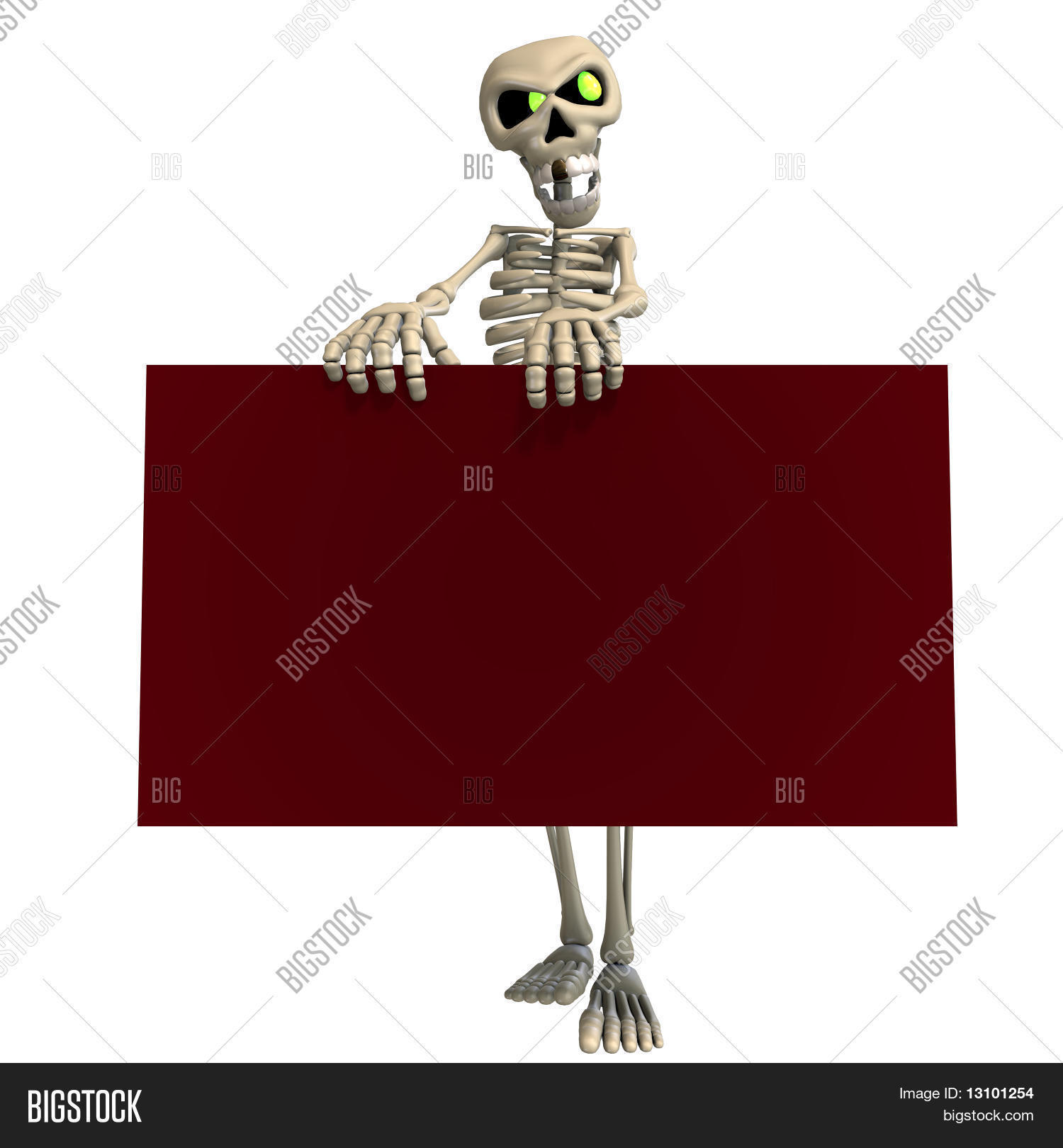 Funny cartoon skeleton invites you image photo bigstock