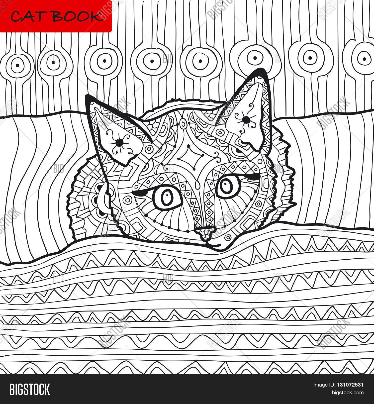 Zentangle Cat Book The Kitten On Bed Coloring For Adults