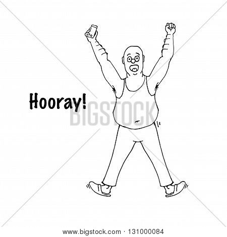Excited  man celebrating success with hands raised. Hooray scream. Hand drawn vector stock illustration. Black and white