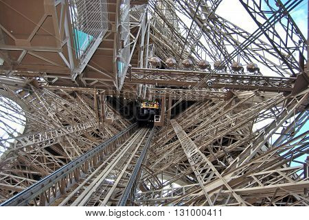 Detail of the incredible structure of the Eiffel Tower in Paris - France