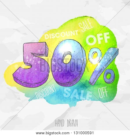 Vector spot watercolor background with hand drawn sketch style lettering 50 (fifty) percent. Doodle discount illustration