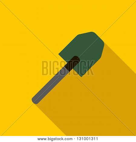 Multifunction spade icon in flat style on a yellow background poster