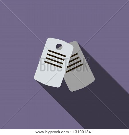 Identification army badge icon in flat style on a violet background