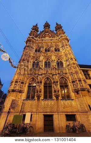 Leuven City Hall on Grote Markt. Leuven Flemish Region Belgium