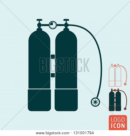 Aqualung icon. Scuba diving equipment symbol. Vector illustration