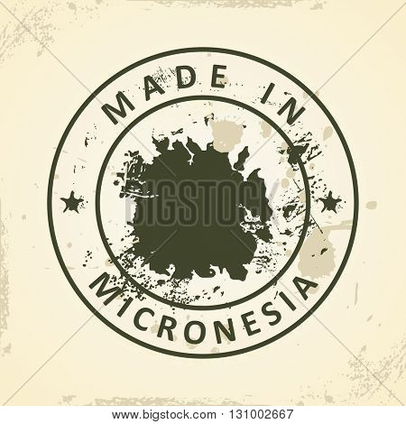 Grunge stamp with map of Micronesia - vector illustration