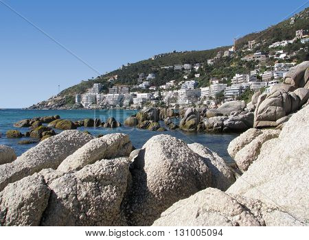 View Of Clifton With Rocky Fore Ground, Cape Town South Africa