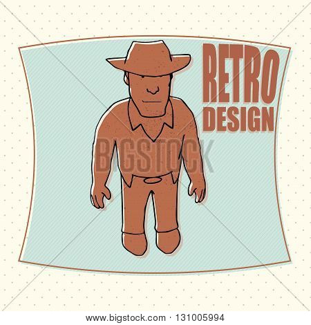 Funny cowboy in a hat and lasso vector illustration
