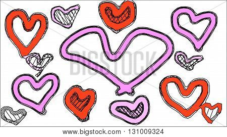 red and pink heart shape with white background