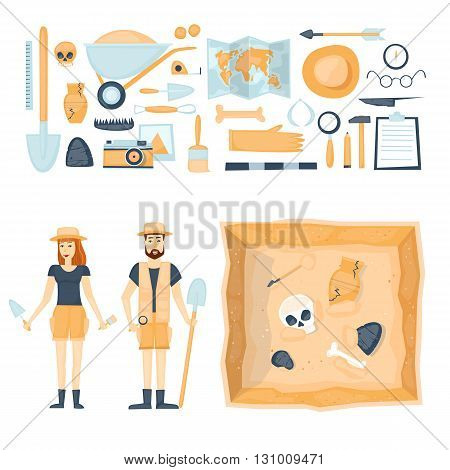 Archeology. Archaeologists man and woman, discovering a jug, treasure hunters ancient artifacts. Tools for excavations. Characters. Isolated on background. Flat style vector illustration. poster