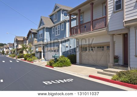 Row of new houses in suburban area Richmond California.