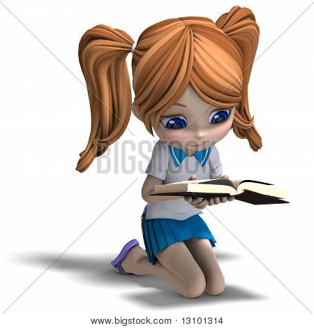 cute little cartoon school girl reads a book