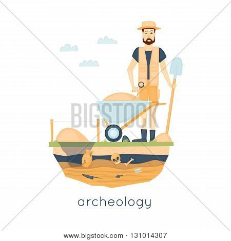 Archeology. Archaeologist leading the excavations, discovering a jug, treasure hunters ancient artifacts. Flat style vector illustration.
