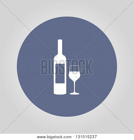 Wine bottle and wine glass silhouette. Vector concept illustration for design.