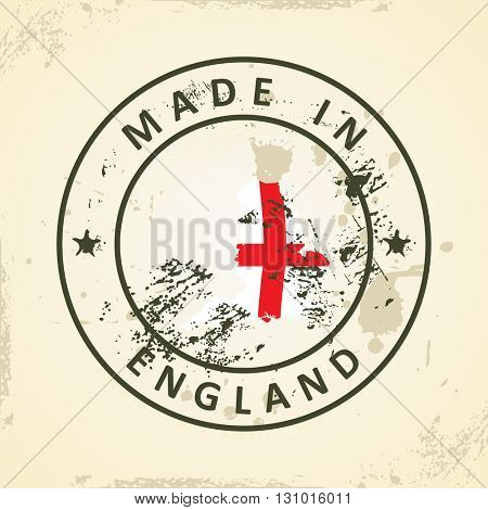 Grunge stamp with map flag of England - vector illustration