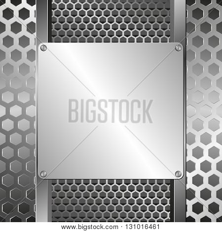grate background and steel plaque  - vector illustration
