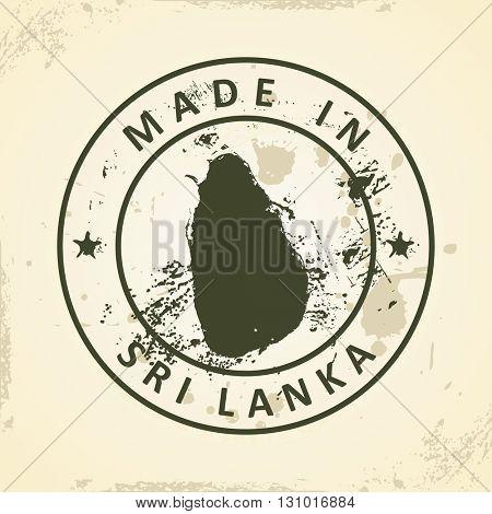 Grunge stamp with map of Sri Lanka - vector illustration