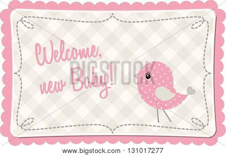 Baby shower with pink abstract birdie, vector illustration, eps 10 with transparency