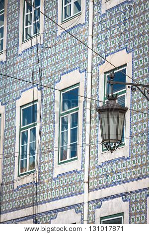 Facade of old house in Alfama district Lisbon