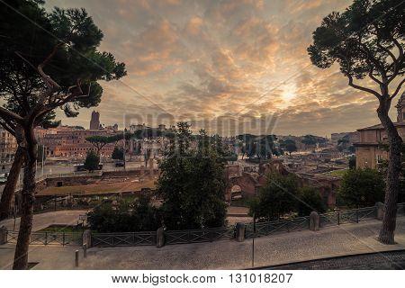 Rome, Italy: The Roman Forum, Latin: Forum Romanum, Italian: Foro Romano, in the sunrise. Old Town of the city