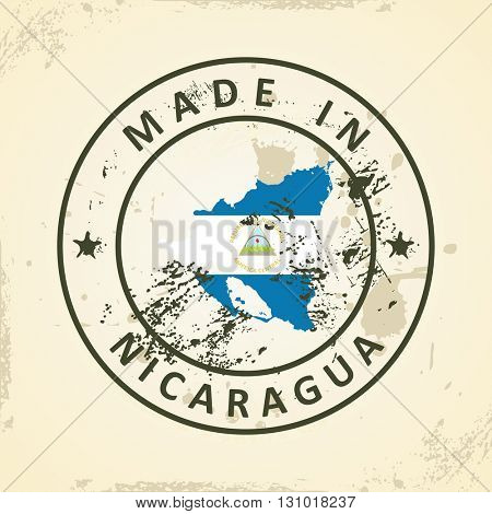 Grunge stamp with map flag of Nicaragua - vector illustration