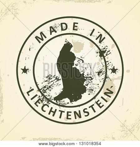 Grunge stamp with map of Liechtenstein - vector illustration