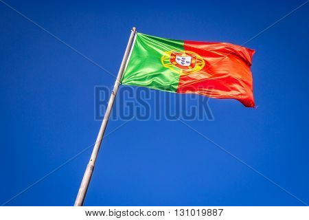 Flag of Portugal in the wind Lisbon Portugal