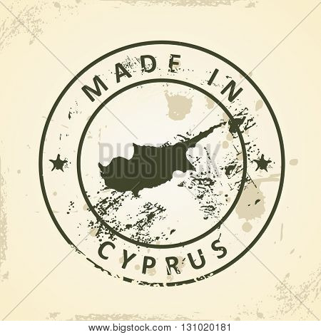 Grunge stamp with map of Cyprus - vector illustration