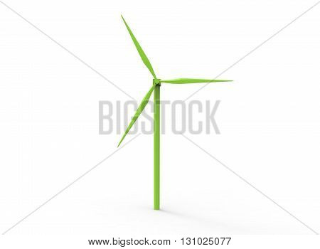 3d illustration of green wind generator. simple to use. on white background isolated with shadow. icon for game or web. canvas for text. green texture.