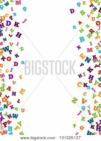 Abstract colorful alphabet ornament border isolated on white background. Vector illustration for bright education, writing, poetic design. Random letters fly top. Book concept for grammar school.