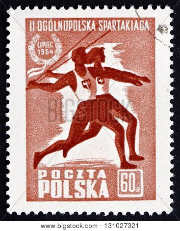 POLAND - CIRCA 1954: a stamp printed in the Poland shows Jawelin Throwers Second Summer Spartacist Games circa 1954