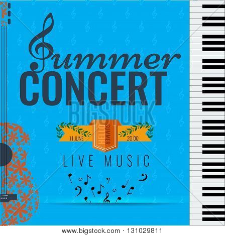 Summer concert Jazz and Blues music festival. Poster background template with flying musical notes guitar and piano. Vector design. poster