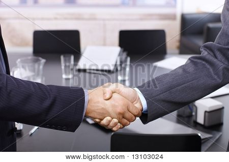 Handshake in closeup, business meeting in office.
