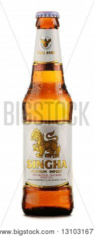 Bottle Of Singha Beer Isolated On White Background